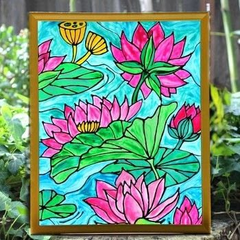 Make realistic stained glass art! .  Free tutorial with pictures on how to make a window decoration in 3 steps by creating, drawing, decorating, embellishing, glassworking, and resinworking with white glue, glass, and colorit adult coloring books. How To posted by Mark Montano.  in the Art section Difficulty: 3/5. Cost: 3/5.