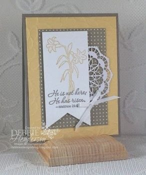 .  Free tutorial with pictures on how to make a greetings card in under 30 minutes by cardmaking and stamping with ribbon, cardstock, and stampers. Inspired by easter. How To posted by Debbie Henderson, Debbie's Designs.  in the Papercraft section Difficulty: Simple. Cost: No cost. Steps: 3