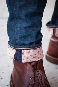 Add Liberty Lawn cuffs to your favourite jeans .  Free tutorial with pictures on how to make jeans in under 60 minutes by sewing with fabric, thread, and thread. How To posted by jemima schlee.  in the Sewing section Difficulty: Simple. Cost: No cost. Steps: 7
