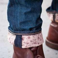 Floral Jeans Cuffs