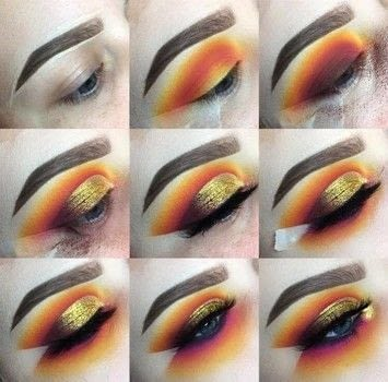 This is a step-by-step tutorial of a sunset themed cut crease look.  .  Free tutorial with pictures on how to create a sunburst eye in under 30 minutes by applying makeup with eyeliner and eyeshadow. How To posted by Emily Casanova Makeup.  in the Beauty section Difficulty: 3/5. Cost: 4/5. Steps: 9