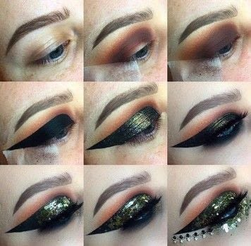 Gold Winged Liner Festival Look .  Free tutorial with pictures on how to create a winged eye look in under 35 minutes by applying makeup with eyeliner. How To posted by Emily Casanova Makeup.  in the Beauty section Difficulty: Simple. Cost: No cost. Steps: 9
