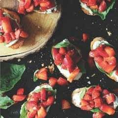 Strawberry Chambord Whipped Stilton Cheese Toasts