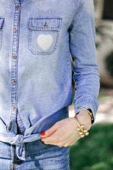 An easy DIY to make your favorite chambray shirt a little bit more fun! .  Free tutorial with pictures on how to make a shirt in under 120 minutes by bleaching with bleach pen, cookie cutter, and shirt. How To posted by Maryal M.  in the Other section Difficulty: Simple. Cost: 3/5. Steps: 10