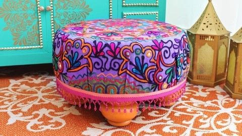 Make a no sew ottoman .  Free tutorial with pictures on how to make a stool in under 120 minutes by upholstering, woodworking, and not sewing with drill, straight pins, and staple gun. How To posted by Mark Montano.  in the Home + DIY section Difficulty: Easy. Cost: 3/5. Steps: 3
