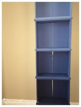 Use old drawers to build a new bookshelf .  Free tutorial with pictures on how to make a shelf in under 120 minutes by constructing with legs, paintbrushes, and paints. Inspired by ombre and blue. How To posted by Lisa  S.  in the Home + DIY section Difficulty: 3/5. Cost: 3/5. Steps: 5