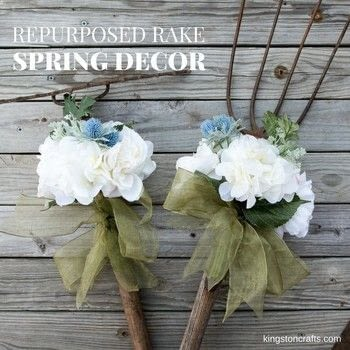 Old Tools Become New Spring Decor with this Easy Project! .  Free tutorial with pictures on how to make an ornament in under 10 minutes using rake, glue gun, and stem. How To posted by Kingston Crafts.  in the Home + DIY section Difficulty: Simple. Cost: Cheap. Steps: 1
