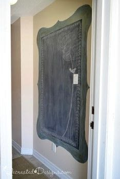 Maximize a small space by painting a chalkboard right on the wall .  Free tutorial with pictures on how to make a chalkboard in under 180 minutes by decorating with glaze, paintbrushes, and chalkboard paint. Inspired by chalkboard. How To posted by Lisa  S.  in the Decorating section Difficulty: 3/5. Cost: 3/5. Steps: 5