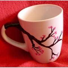 Cherry Blossom Hand Painted Mug