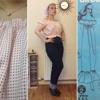 Simple Vintage .  Make a top in under 120 minutes by sewing with material. Inspired by vintage & retro. Creation posted by Markee R.  in the Needlework section Difficulty: Simple. Cost: Cheap.