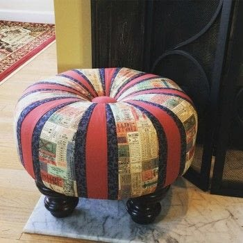 Create an adorable accent piece for your home! .  Make a seat by upholstering, hand sewing, and machine sewing with fabric, thread, and pattern. Creation posted by Jennie I.  in the Home + DIY section Difficulty: 4/5. Cost: 4/5.