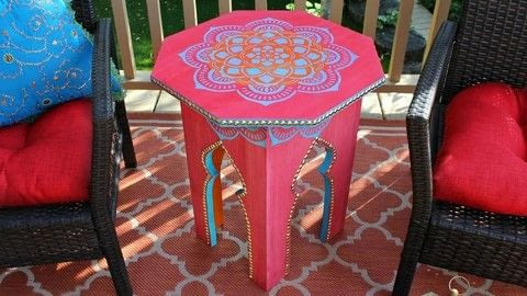 """Make a Moroccan Side Table .  Free tutorial with pictures on how to make a side table in under 180 minutes by constructing, stencilling, and woodworking with 1 piece of 20"""" x 20"""" x 3/4"""" plywood, 4 pieces of 1"""" x 12"""" x 22"""" pine board, and decoart vintage effect wash. How To posted by Mark Montano.  in the Home + DIY section Difficulty: Simple. Cost: 3/5. Steps: 4"""