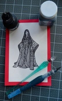 Japanese kimono Glass pen Ink Drawing  .  Draw & Paint a piece of character art in under 25 minutes Creation posted by Samantha A.  in the Art section Difficulty: Easy. Cost: 3/5.