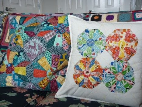 A fun EPP project in two sizes .  Free tutorial with pictures on how to sew a patchwork cushion in under 120 minutes by sewing and patchworking with paper and fabrics. How To posted by Reene at Nellie's Niceties.  in the Sewing section Difficulty: 3/5. Cost: Cheap. Steps: 3