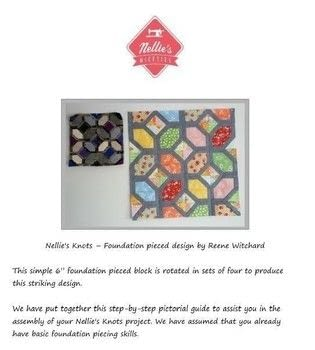 A fun and effective foundation piecing pattern. .  Free tutorial with pictures on how to sew a patchwork cushion in 1 step by sewing and patchworking with paper, fabrics, and printer. How To posted by Reene at Nellie's Niceties.  in the Sewing section Difficulty: 3/5. Cost: Absolutley free.