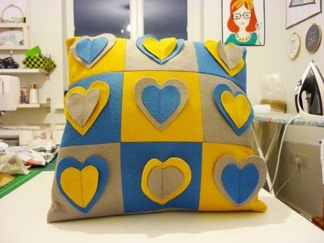 A quick and fun project for felt. .  Free tutorial with pictures on how to make an embellished cushion in under 90 minutes by sewing with felt and stencil. How To posted by Reene at Nellie's Niceties.  in the Sewing section Difficulty: Easy. Cost: Cheap. Steps: 6