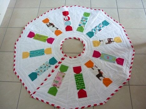 A quirky and colourful tree skirt pattern. .  Free tutorial with pictures on how to make a Christmas tree skirt in 2 steps by sewing and patchworking with pdf instructions. How To posted by Reene at Nellie's Niceties.  in the Sewing section Difficulty: Easy. Cost: Cheap.