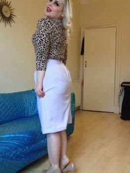 Simple Pencil Skirt .  Make a high-waisted skirt in under 120 minutes using material. Inspired by vintage & retro. Creation posted by Markee R.  in the Sewing section Difficulty: Simple. Cost: Cheap.