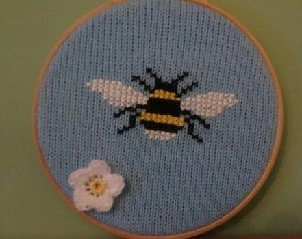 3 craft loves .  Make a hanging in under 120 minutes by cross stitching, crocheting, and knitting with knitting machine, embroidery floss, and embroidery hoop. Creation posted by Ayjay.  in the Needlework section Difficulty: Simple. Cost: Absolutley free.