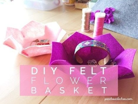 Follow me in this easy and quick DIY to learn how to make these pretty felt flower shaped baskets with scissors and a few stitches! .  Free tutorial with pictures on how to sew a fabric basket in under 30 minutes by hand sewing with needle, thread, and felt. Inspired by flowers. How To posted by Estelle C.  in the Needlework section Difficulty: Simple. Cost: No cost. Steps: 3