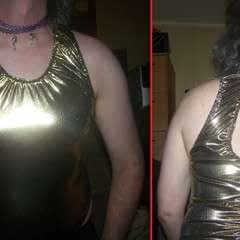Liquid Gold Lame' Keyhole Backed Ruched Back Sleeveless Bodysuit.