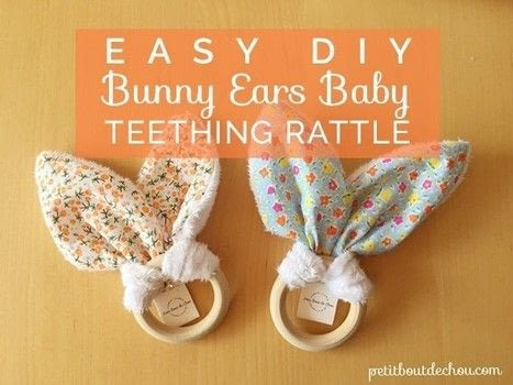 Learn step by step how to sew these cute bunny ears to create an easy making baby gift: a beautiful teething rattle with free printable pattern. .  Free tutorial with pictures on how to make a rattles in under 15 minutes by hand sewing and machine sewing with cotton fabric, fabric, and scissors. Inspired by rabbits. How To posted by Estelle C.  in the Needlework section Difficulty: Simple. Cost: Cheap. Steps: 4