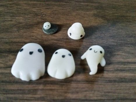 Cold Porcelain, charms, ghost, rainbow, tie dye, cat, pig, house .  Sculpt a clay character charm in under 60 minutes using clay, paints, and glow in the dark paint. Inspired by ghosts. Creation posted by DeadGirl.  in the Art section Difficulty: Easy. Cost: No cost.