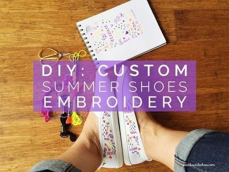 Let's give our shoes a summery look! .  Free tutorial with pictures on how to make a pair of embellished shoes in under 180 minutes by embroidering with scissors, needle, and embroidery thread. How To posted by Estelle C.  in the Needlework section Difficulty: 3/5. Cost: Cheap. Steps: 4