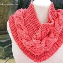Coral Garter/Cable Cowl