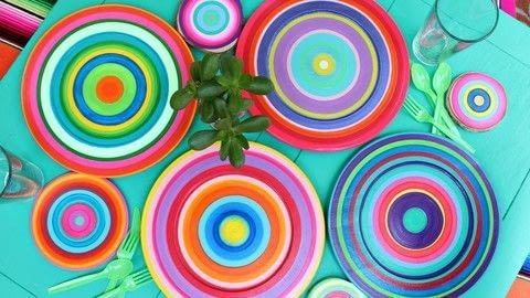 Striped Summer Dishes DIY .  Free tutorial with pictures on how to make a plate in under 60 minutes by creating, decorating, and embellishing with clear varnish, charger, and americana acrylics. How To posted by Mark Montano.  in the Art section Difficulty: Easy. Cost: 3/5. Steps: 3