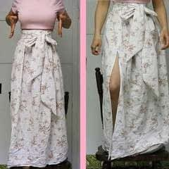 Maxi Skirt With Bow And Knee Slit