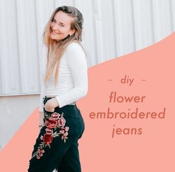 Easy peasy embroidered jeans. .  Free tutorial with pictures on how to make jeans in under 60 minutes by not sewing with jeans, fabric glue, and patches. How To posted by Lauren L.  in the Home + DIY section Difficulty: Easy. Cost: Cheap. Steps: 1