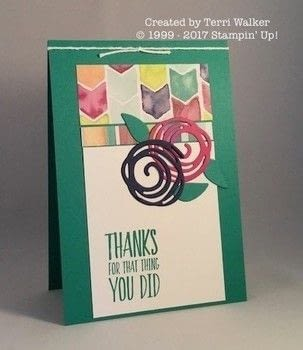 A fun eye-catching thank you .  Free tutorial with pictures on how to make a greetings card in under 15 minutes by embellishing and cardmaking How To posted by Terri W.  in the Papercraft section Difficulty: Easy. Cost: Cheap. Steps: 5
