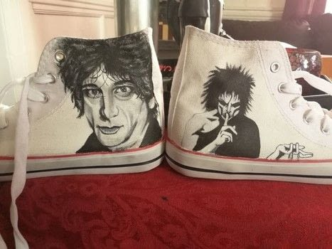 Neil Gaiman shoes .  Paint a pair of character shoes by creating with paintbrushes, acrylic paint, and canvas shoes. Inspired by shoes and acrylic paint. Creation posted by Phoebe O.  in the Art section Difficulty: 4/5. Cost: Cheap.