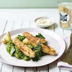 Coconut Crusted Haddock Fingers & Mushy Peas