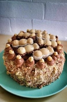 Sponge Cake With Nutella Icing Hazelnuts And Happy Hippos Free Tutorial Pictures