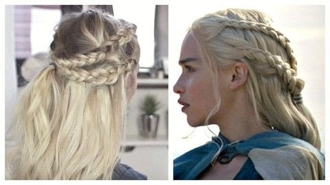 Daenerys Targaryen hair tutorial .  Free tutorial with pictures on how to style a braid / plait in under 20 minutes using hair elastic, hairspray, and brush. Inspired by costumes & cosplay and game of thrones. How To posted by Alex R.  in the Beauty section Difficulty: 3/5. Cost: No cost. Steps: 5
