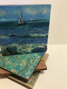 Turn your favorite art into a coffee table conversation piece .  Free tutorial with pictures on how to paint a painted coaster in 6 steps using wood, mod podge hard coat, and paint brush. How To posted by Lindsey Mae.  in the Home + DIY section Difficulty: Simple. Cost: 3/5.