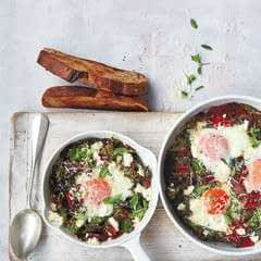 Baked Eggs And Swiss Chard