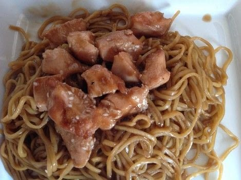 Teriyaki Chicken with noodles  .  Free tutorial with pictures on how to cook a chicken dish in under 45 minutes by cooking with cornflour, water, and sugar. Recipe posted by Super Madcow.  in the Recipes section Difficulty: Easy. Cost: Cheap. Steps: 7