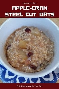 Instant Pot Steel Cut Oats .  Free tutorial with pictures on how to cook oatmeal in under 20 minutes by cooking with apple, water, and salt. Recipe posted by Charlene Asay.  in the Recipes section Difficulty: Simple. Cost: Cheap. Steps: 1