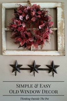 Old Window with Wreath .  Free tutorial with pictures on how to make a branch & twig wreath in under 30 minutes How To posted by Charlene Asay.  in the Home + DIY section Difficulty: Easy. Cost: Absolutley free. Steps: 3