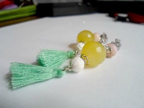 Easy D.I.Y boho style tassel earrings .  Free tutorial with pictures on how to make a tassel earring in under 25 minutes by jewelrymaking with eye pins, semi precious gemstone beads, and earring studs. How To posted by Alex B.  in the Jewelry section Difficulty: Simple. Cost: 3/5. Steps: 3