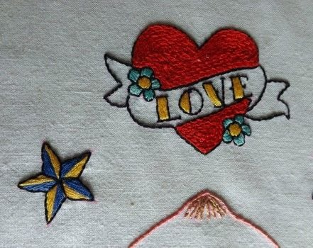 The Forgotten Project .  Make a home textile by embroidering with fabric, embroidery thread, and needle. Inspired by tattoos. Creation posted by PixieFey.  in the Needlework section Difficulty: Easy. Cost: Cheap.