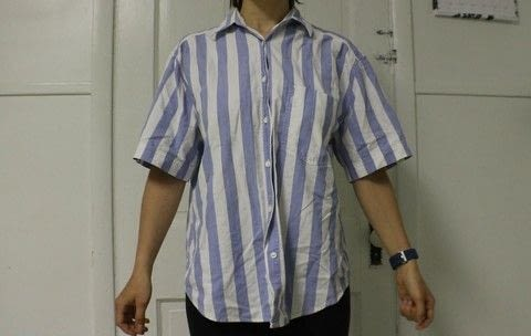 How to take a baggy shirt and make it trendy and fitted .  Free tutorial with pictures on how to make a collared top in under 60 minutes using sewing machine, serger, and thread. How To posted by Rachel's Craft Channel.  in the Sewing section Difficulty: 3/5. Cost: No cost. Steps: 1