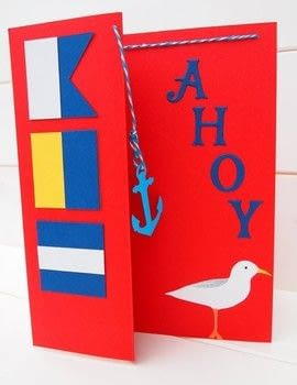 Nautical card .  Free tutorial with pictures on how to make a greetings card in under 30 minutes by papercrafting with card, die, and die. Inspired by for boys, nautical, and sailor. How To posted by Elizabeth  Moad.  in the Papercraft section Difficulty: Simple. Cost: Cheap. Steps: 4