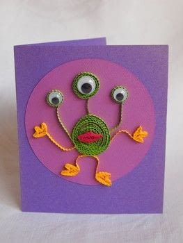Paper Quilled Alien Card .  Free tutorial with pictures on how to make a quilled greetings card in under 40 minutes by papercrafting and quilling with quilling tool, wiggly eyes, and quilling paper. Inspired by kids and aliens. How To posted by Elizabeth  Moad.  in the Papercraft section Difficulty: 3/5. Cost: Absolutley free. Steps: 4