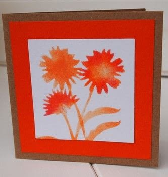 A stenciled floral greeting card .  Free tutorial with pictures on how to make a greetings card in under 15 minutes by papercrafting and stencilling with sponge, pads, and white. Inspired by flowers. How To posted by Elizabeth  Moad.  in the Papercraft section Difficulty: Simple. Cost: Absolutley free. Steps: 3
