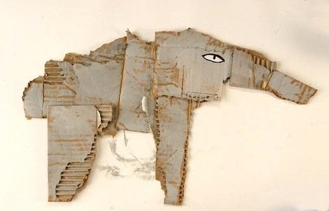 Create animals from ripped corrugated cardboard! .  Free tutorial with pictures on how to make a mixed media in under 45 minutes using cardboard box, acrylic paint, and acrylic paint. Inspired by elephants. How To posted by Carla Sonheim. Difficulty: Easy. Cost: No cost. Steps: 5