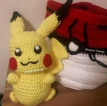 Pika Pika Chuuuuuuuuu!!! .  Crochet single crochet by yarncrafting, crocheting, amigurumi, and hand sewing with acrylic yarn, scissors, and yarn needle. Inspired by pokemon, pikachu, and yellow. Creation posted by Shelynn T.  in the Yarncraft section Difficulty: 4/5. Cost: Cheap.